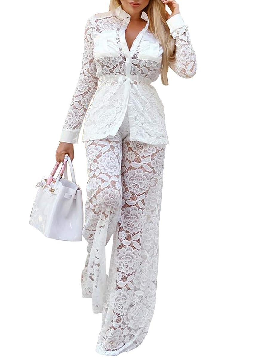XXXITICAT Women's Sexy Lace Transparent See Through Wide Leg Pants Tube Top Long Coat Sets Suits