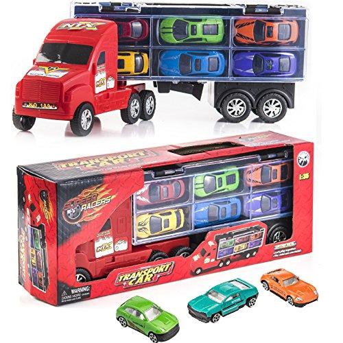 """Prextex.com 15"""" Träger-LKW-Spielzeug-Auto-Transporter umschließt 6 Metallauto-Spielzeug für Jungen EIN großes Jungen"""