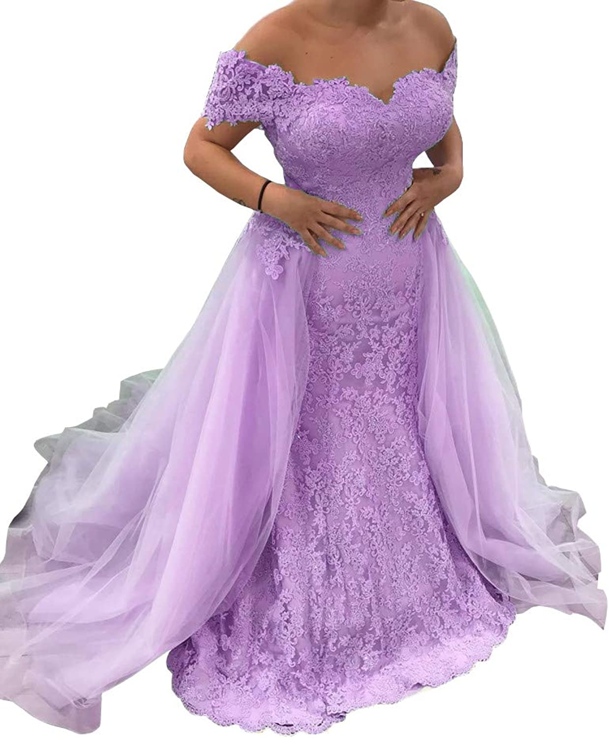 20KyleBird Women's Off The Shoulder Mermaid Lace Evening Dresses with Detachable Train Long Formal Prom Gowns Plus Size