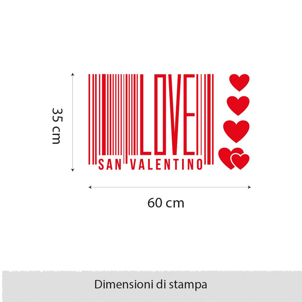 Rosso kina VSV0442 Adesivi Murali Vetrofanie per San Valentino Stickers Misure 120X25 cm Adesivi Primo Bacio vetrine Negozi