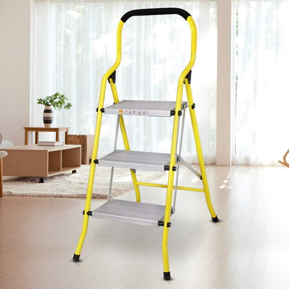 Escaleras de mano resistentes del hogar Paso 3 Escalera De Aluminio Escalera Plegable 5,54 / 6,9 Kg Antideslizante Pintura Portátil Escalera For El Hogar Oficina De La Casa Garaje Limpieza Decoración: Amazon.es: Hogar