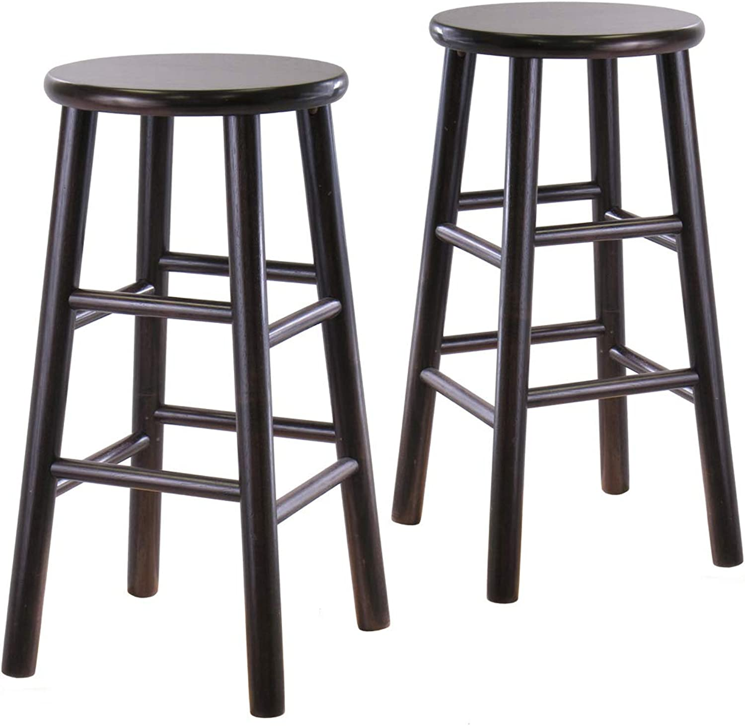 (60cm) - Winsome Wood S 2 Wood 60cm Stools, Espresso Finish