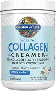 Garden of Life Grass Fed Collagen Creamer Powder - Creamy Vanilla, 12 Servings, Collagen Powder for Coffee Energy Beauty J...