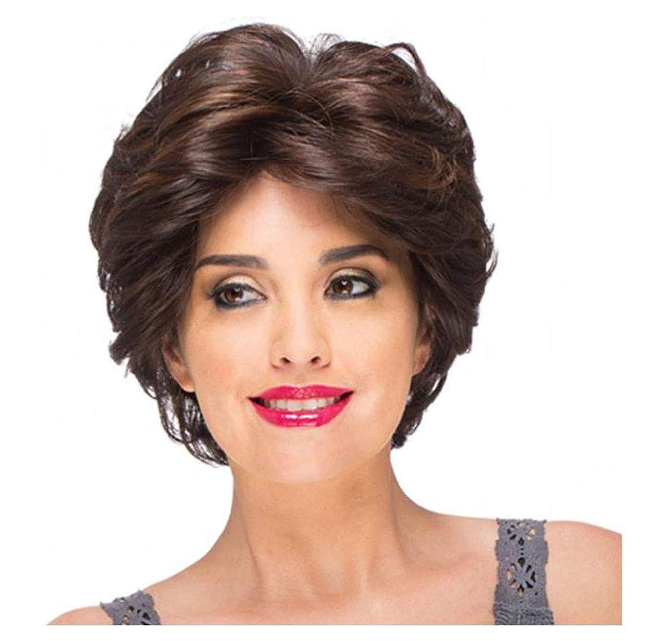 トマトなかなか思いやりのあるかつら茶色ショートかつらヘアエクステンションストレート合成ボブ女性のかつら 130% 毎日の使用のための高密度のパーティーハロウィン