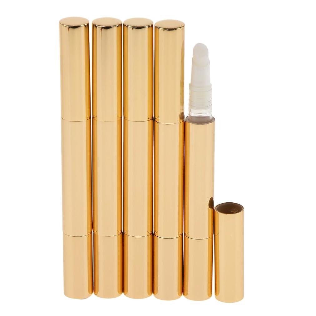 処方悪意のあるセグメントBaosity 5個 メイクアップ ツイストペン ブラシヘッド付き 3ml リップグロス まつげチューブ コスメ用詰替え容器 DIY 便利 5色選べる - ゴールド