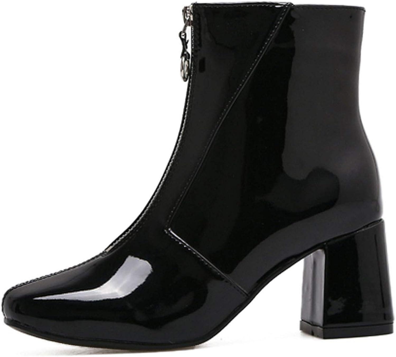 IOJHOIJOIJOIJMO Chelsea Boots 2019 Dropshipp Low Heel Boots Zipper Women Round Toe Square Heel Patent Leather Boots