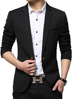 ROSEUNION Men's Casual Suit Coat Slim Cotton Blazer Korean Fashion Style One Buttons Casual Jacket