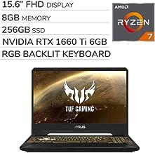 ASUS TUF Gaming 2019 15.6'' FHD Laptop Notebook Computer, AMD Ryzen 7 R7-3750H 2.3GHz, GTX 1660 Ti 6GB Graphics, 8GB RAM, 256GB SSD, RGB Backlit Keyboard, Wi-Fi, Bluetooth, Webcam, HDMI, Windows 10
