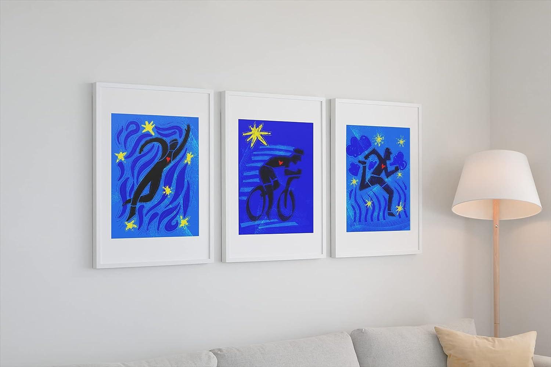 Ranking TOP14 Set of 3 triathlon art prints Fashion Triathlon decor Gift Tr wall - for