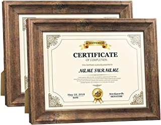 Artsay 8.5x11 Certificate Document Diploma Frame Rustic Distressed Picture Frames 8.5 x 11 Set, Wall Hanging and Tabletop, 2 Pack, Brown