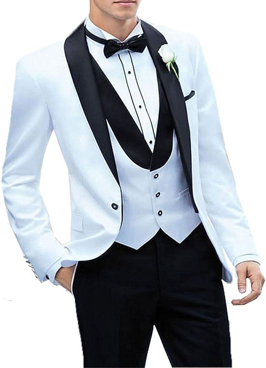 Men's 3 Pieces Groom One Button Wedding Men Suits Tuxedos Blazer Vest Casual Suit with Pants(White,42US/UK & 52EU)