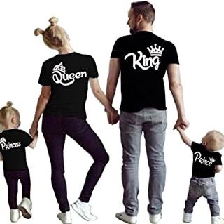 Family Clothes Matching - King Queen Crown Short Sleeve Cotton T-Shirt Printed Funny Tops, 1 Pcs