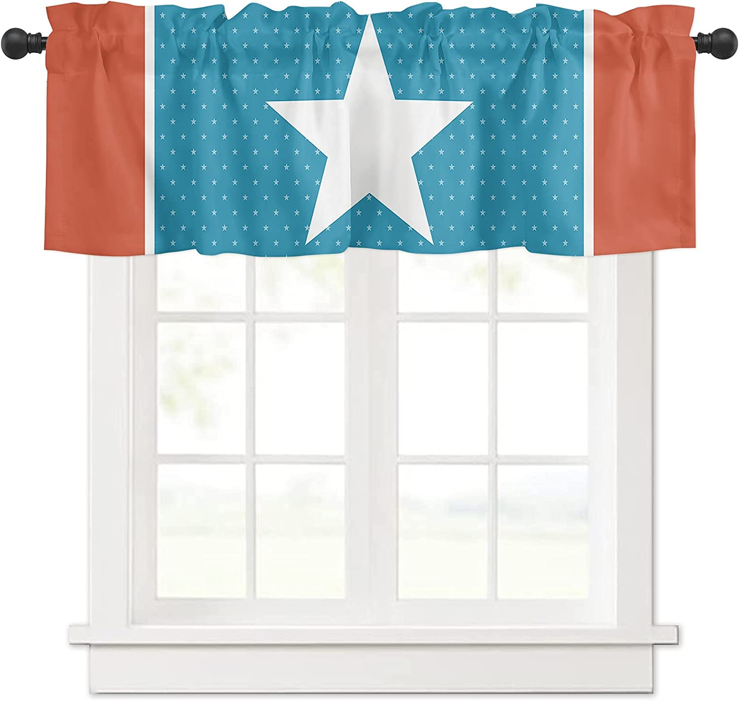 Independence outlet Day Blue and Orange for Inexpensive Curtain Star Valances Lines