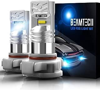 BEAMTECH 5202 Led Fog Light Bulb,H16(European Type,Not Japan vehicles) CSP Chips 6500K 800 Lumens Xenon White Extremely Super Bright