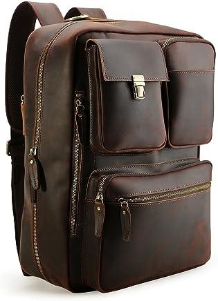 de7524d867 Tiding Vintage 15.6 Inch Men s Crazy Horse Real Leather Convertible  Backpack Laptop Messenger Bag Large Briefcase