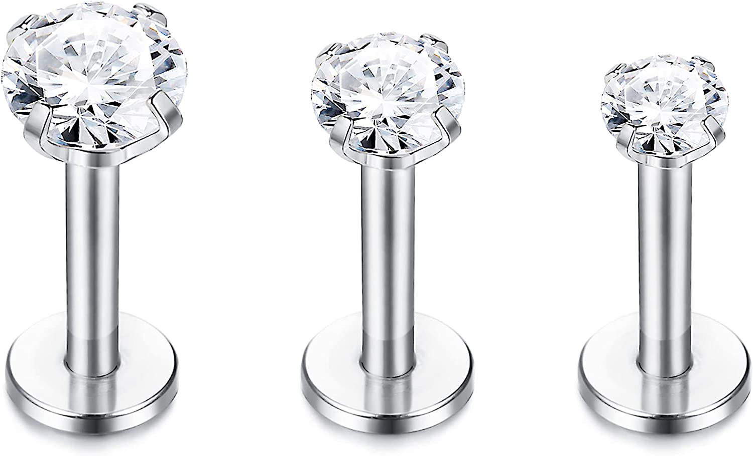 Sllaiss 3 Pcs 16G Cartilage Tragus Earrings Stud for Women Men Stainless Steel Plated Round Cubic Zirconia 3mm-5mm Piercings Set Body Jewelry Lip Piercing Nose Studs