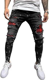 Men's Slim-fit Ripped Tapered Biker Jeans Pants
