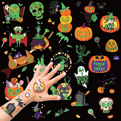 HOWAF Halloween Tattoos for Kids, Halloween Temporary Tattoo Glow in the Dark Tattoo Stickers Trick or Treat Party Bag Fillers / Halloween Decorations, Skull, Ghosts, Pumpkins, Vampire, Bats, + More