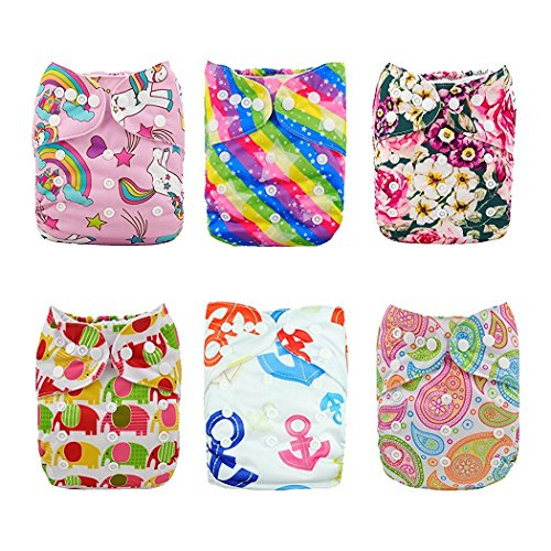 Alva Baby Pocket Doek luiers Herbruikbaar Wasbaar 6 Stks Luiers + 12 STKS Inserts All in one 6DM18