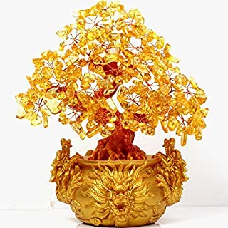 VOVOV Feng Shui Citrine/Yellow Crytal Money Tree with Chinese Dragon Pots