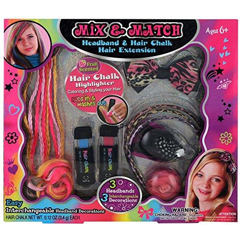 GLoss - Coffret de maquillage pour petite fille - Spécial cheveux incluant 2 craies pour cheveux et 3 serre-tête - Collection Mix & Match