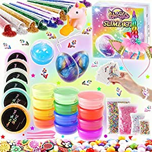 KiddosLand Unicorn Slime Kit for Girls Boys Unicorn Gifts for Kids Party Featival Inclusive Slime Making Kit with…