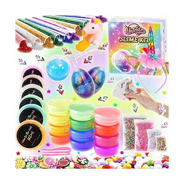 KiddosLand Unicorn Crystal Slime Kit for Girls Boys Unicorn Gifts for Kids Party Inclusive Glow in The Dark Slime Making… 3