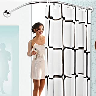 Curved Shower Curtain Rod No Drilling Bathroom Bathtub Bath Corner Curtain Rail Bar Adjustable,Extendable Stainless Steel ...