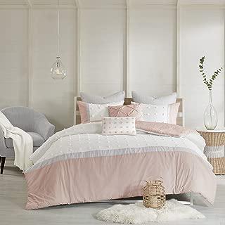 Urban Habitat Myla 7 Piece Cotton Jacquard Duvet Cover Set Blush King/Cal King