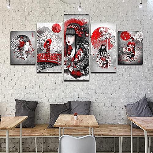 DSGER HD Lienzo Decorativo 5 Panel Artística Lienzo Decorativo Cuadros Estilo Geisha Japonés Modulares Salón Decoración para Hogar