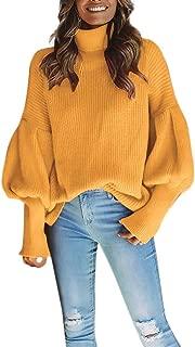 Franterd Women Lantern Sleeve Knitted Turtleneck Sweater Solid Fashion Loose Baggy Pullover Top Blouse Sweatshirt