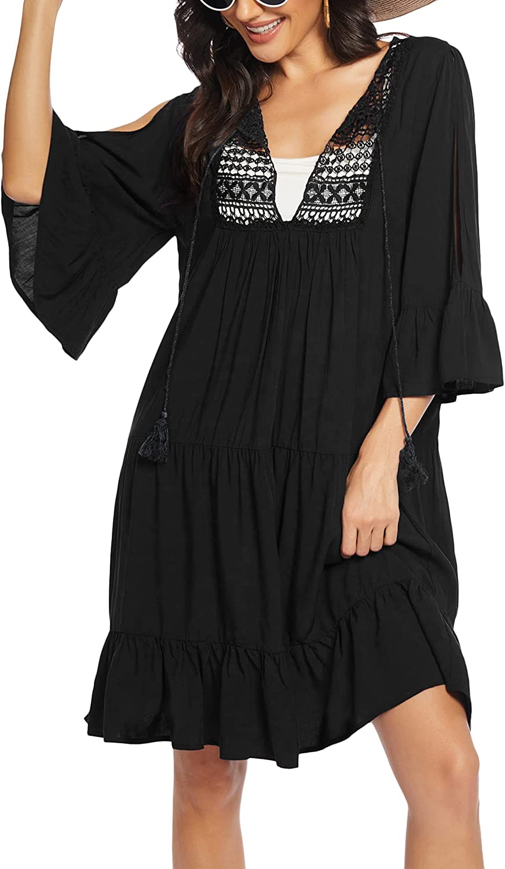Ekouaer Women's Swimsuit Beach Cover Up Crochet Swimwear Loose Off-Shoulder Tunic Dresses