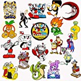 GTOTd Stickers for Cupheader (20Pcs Large Size).Toys Gifts Vinyl Waterproof Stickers Skateboard Guitar Travel Case Sticker Car Bike Bicycle Helmet Stickers