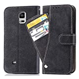 Asuwish Galaxy Note 4 Wallet Case,Leather Phone Cases with Credit Card Holder Slim Kickstand Stand Flip Folio Protective Cover for Samsung Galaxy Note 4 Note4 Women Girls Men Black
