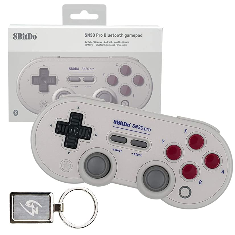 Mcbazel 8Bitdo SN30 Pro G Classic Edition Bluetooth 4.0 Gamepad Controller for Windows Android MacOS Steam Nintendo Switch with Gam3Gear Keychain