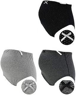 ローズマダム 肌にやさしい マタニティショーツ 綿100%でノンストレスの履き心地 ウエストゴム調整 お得な3枚組 7309 D-ブラックドット、グレー無地、ブラックボーダー L-LL