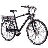 CHRISSON 28 Zoll E-Bike Trekking und City Bike für Herren - E-Gent schwarz mit 7 Gang Shimano Nexus Nabenschaltung - Pedelec Herren mit Bafang Vorderradmotor 250W, 36V