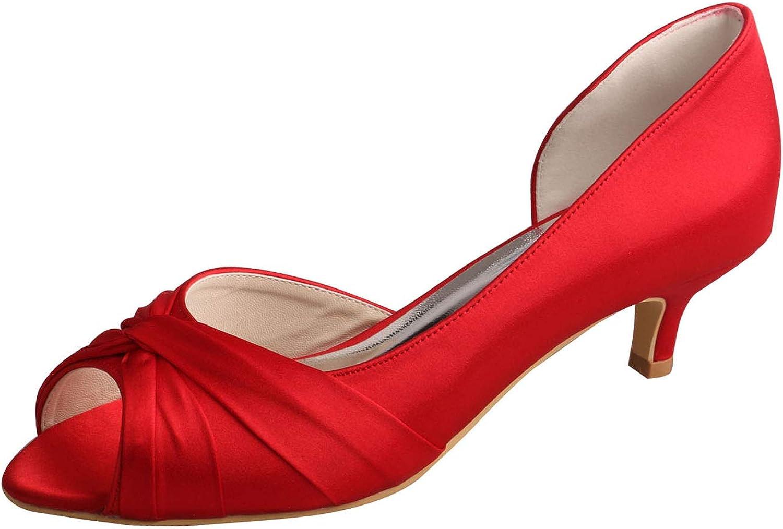 SERAPH MW632 Damen Braut Stiletto Absatz Pumps Satin Peep Toe Abend Prom Hochzeit Schuhe,rot,38EU