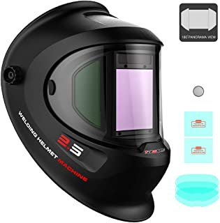 Tekware Large Viewing True Color Solar Powered Auto Darkening Welding Helmet with SIDE..