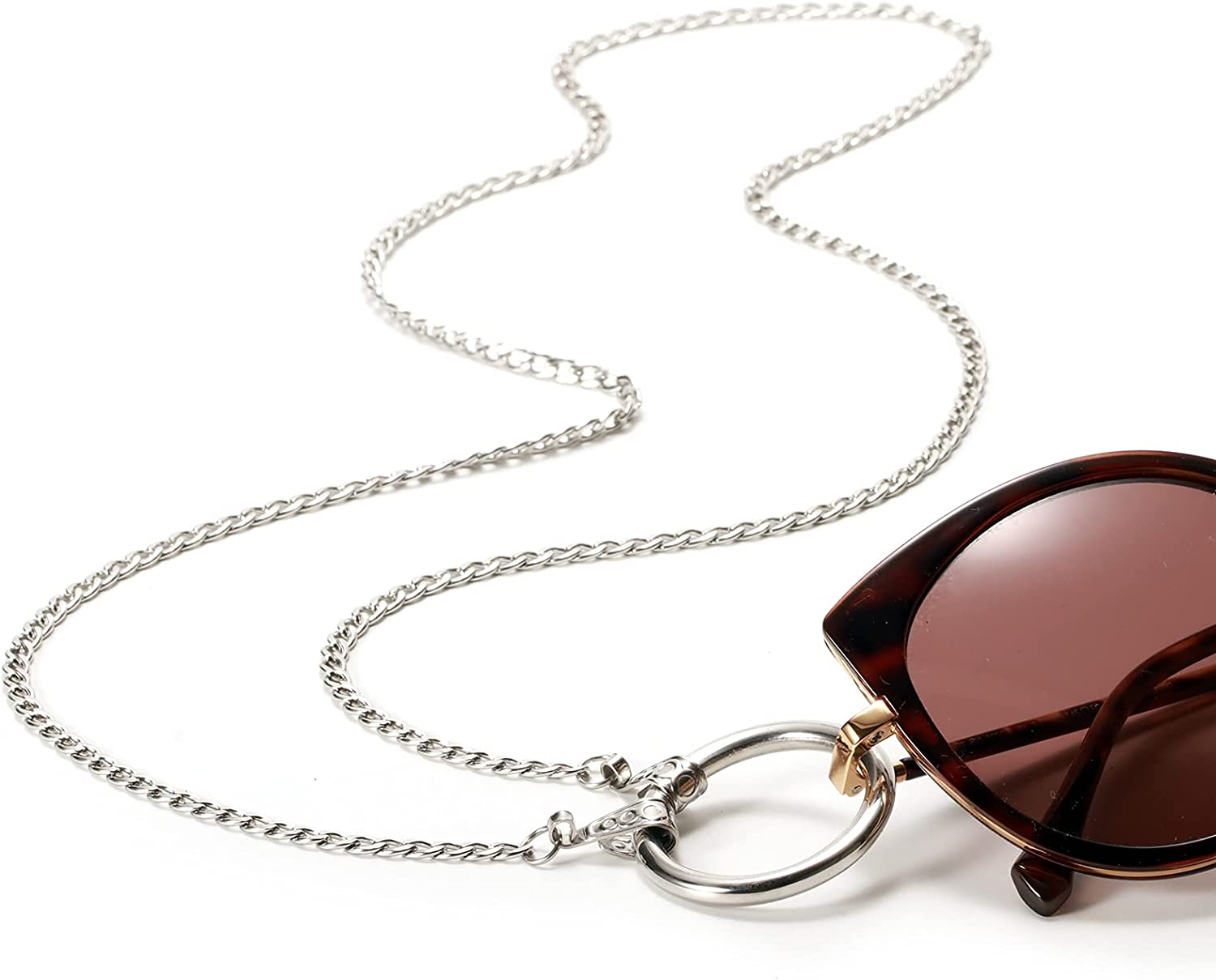 Eyeglass Holder Ring Necklace Glasses Holder Strap Stainless Steel Loop Anti-Lost Chain Cord Nylon Rope