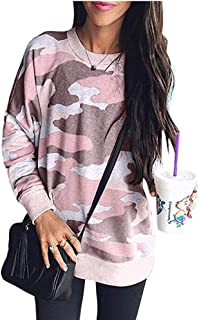 Limsea Women's Camouflage Print Casual Leopard Pullover Long Sleeve Sweatshirts Top Blouse