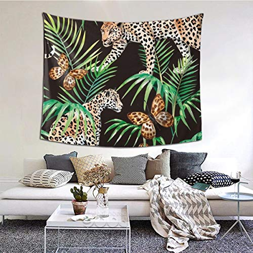 N/A goud zwart jungle vlinder panter wandtapijten muur opknoping gooi tafelkleed 60X40 inch voor slaapkamer woonkamer slaapzaal kamer