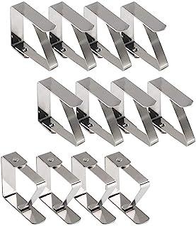Pince Nappe Exterieur, Pince Nappe de Table, 12 Pinces à Nappe en Acier Inoxydable, Nappe Clips Anti-Glissant Fixer Nappe ...