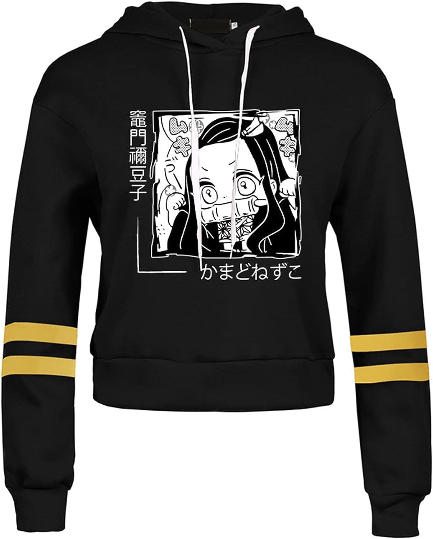 CREPUSCOLO Women's Demon Slayer Crop Top Hoodie Anime Striped Long Sleeve Sweatshirt