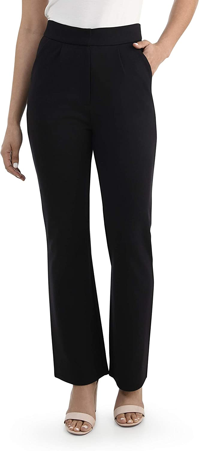 Seek No Further by Fruit of the Loom Women's High Waisted Pleated Fit and Flare Pants
