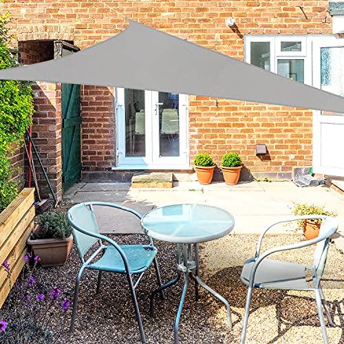 OKAWADACH Sonnensegel, Polyester Sonnensegel Sonnenschutz Garten Balkon und Terrasse wetterbeständig mit UV Schutz Windschutz für Garten Terrasse Camping (Dreieck 2 x 2 x 2m Hellgrau)