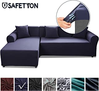 Sand Sofa Slipcover SAFETYON Elastic Sofa Cover Sets L Shape Stretch Furniture Cover Pet Dog Sectional/Corner Couch Covers Thin velvet L-type flexible sofa cover 3-seat +3 seat Dark Blue