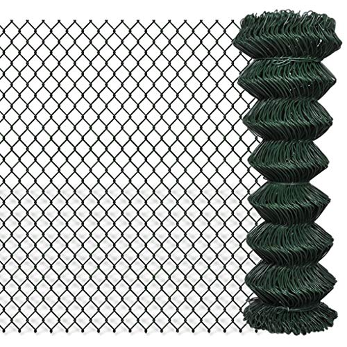 vidaXL Valla de Malla Acero Galvanizado Verde 1,25x25m Tensión Cerca Alambrada