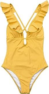 Women's Falbala One Piece Swimsuit Deep V Neck Monokini Swimsuit