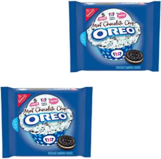 OREO Chocolate Sandwich Cookies, Mint Chocolate Chip Flavor Creme, Baskin Robbins Limited Edition, (10.7 oz), Pack of 2